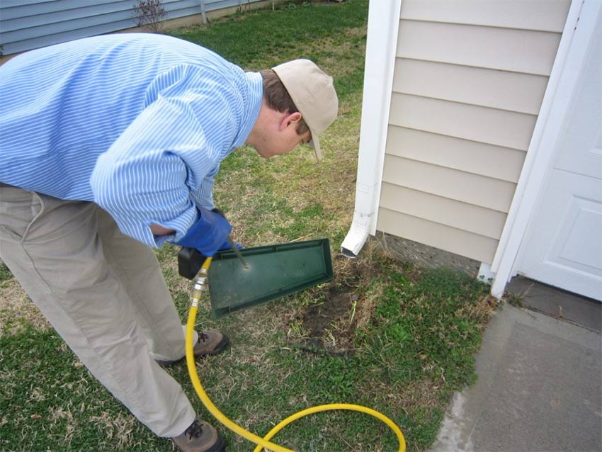 Pest Control Professional spraying pest repellent
